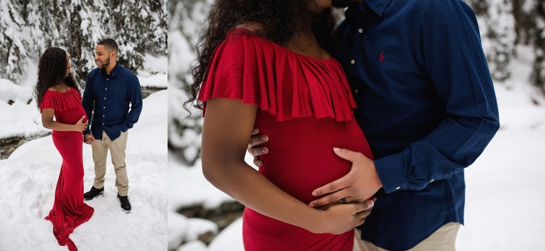 snoqualmie pass maternity session | Seattle maternity photographer | snow maternity session